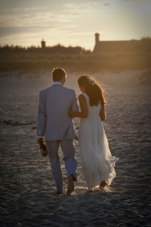 Beach portrait wedding