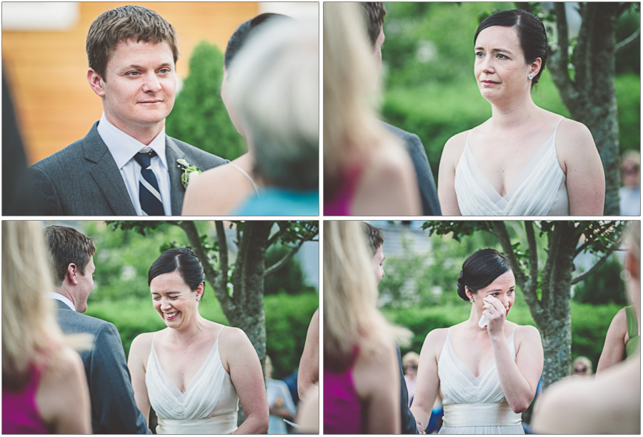 emotional bride and groom see each other