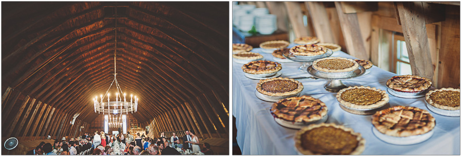 inside barn venue and homemade wedding pie
