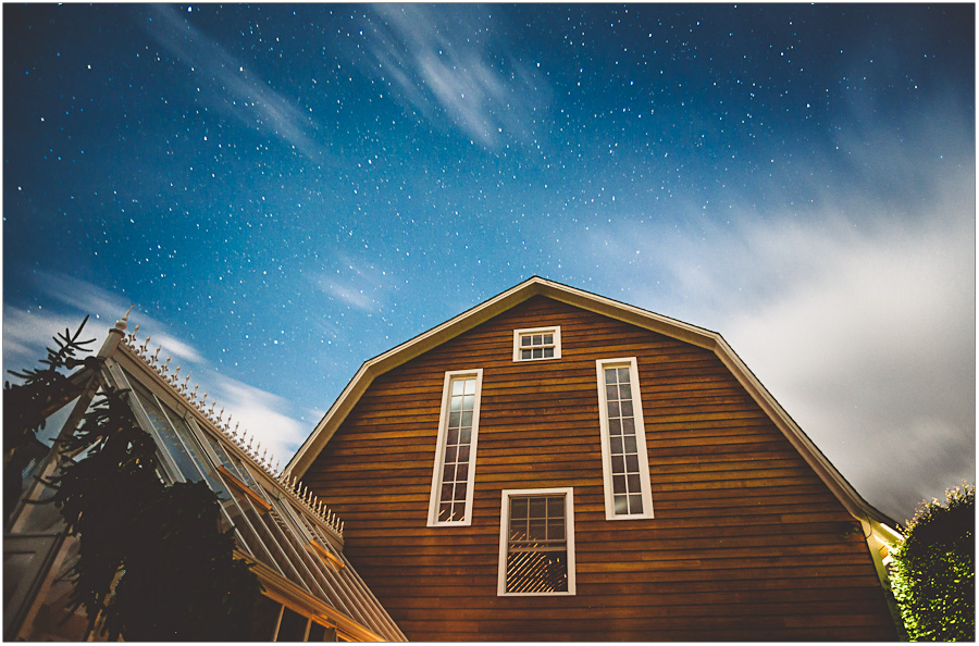 night sky at barn wedding venue