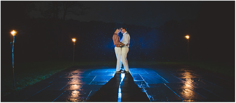 nighttime rain portrait of the same sex couple
