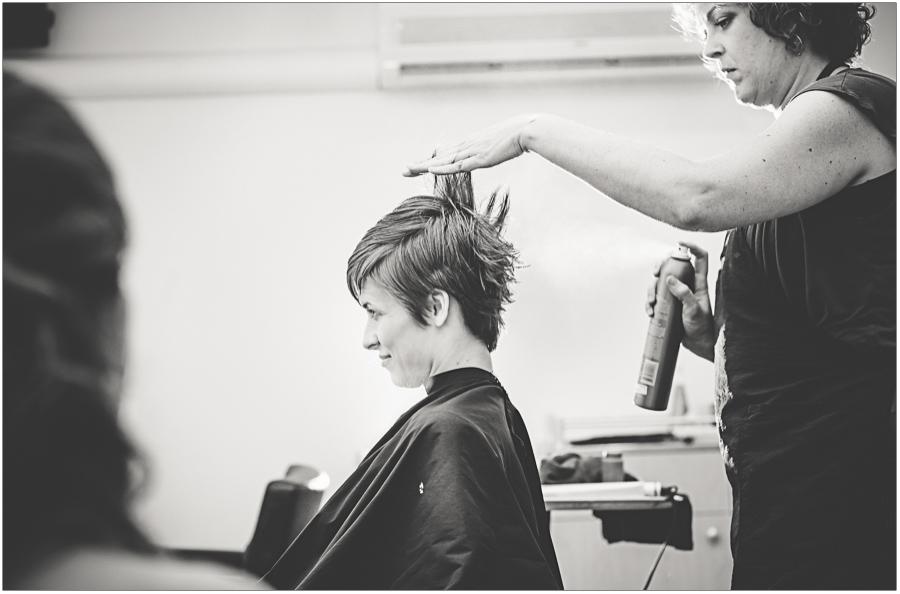 bride prep getting hair done