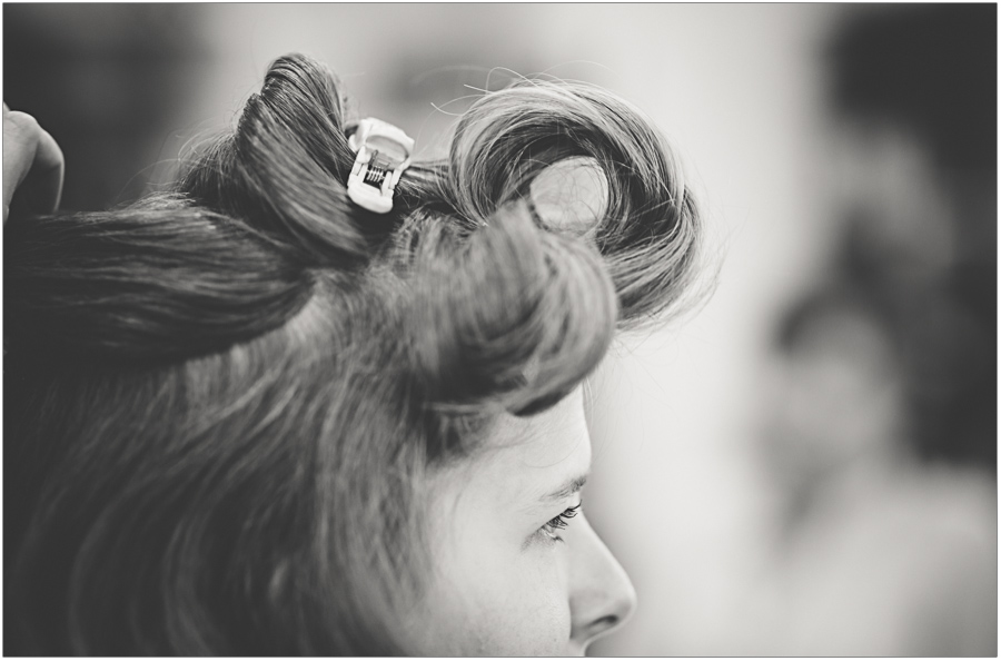 close up of hair prep for wedding