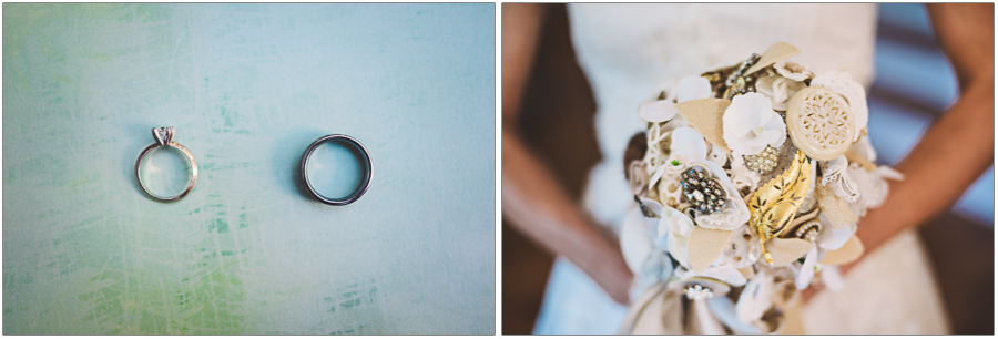 Wedding details ring and metal bouquet