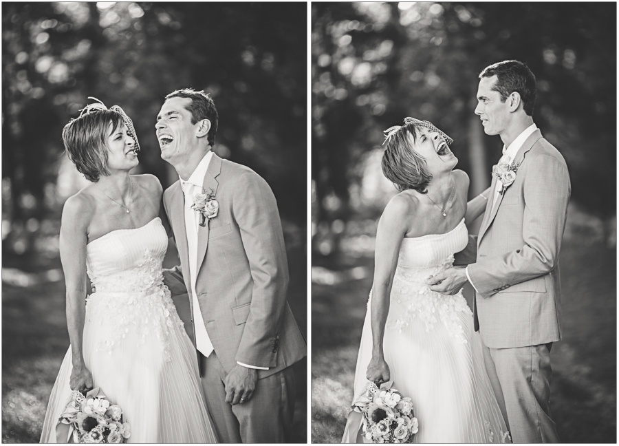 bride and groom share jokes durring portraits