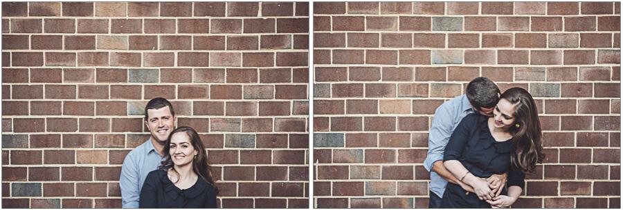 brick wall portrait engaged
