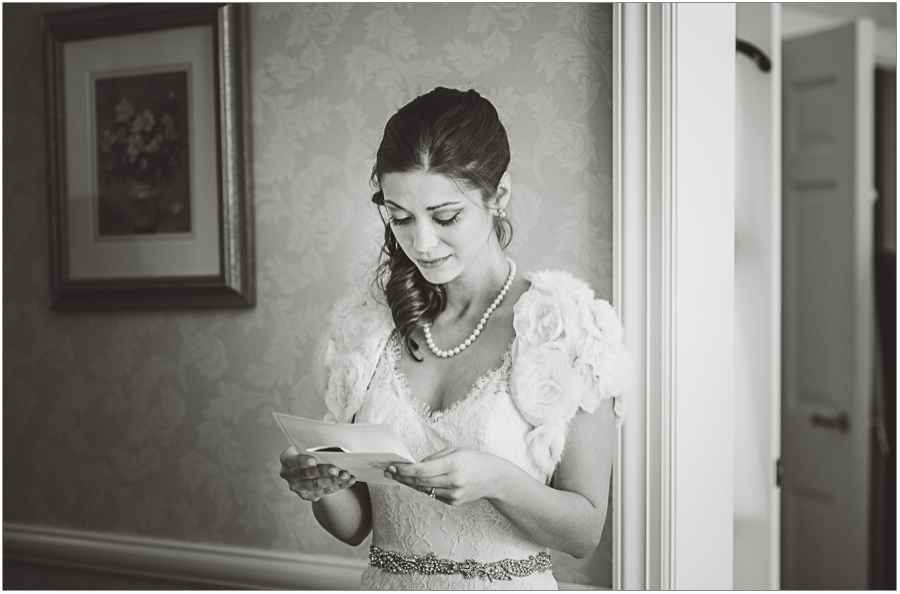 Reading letter from the Groom at Nassau Inn