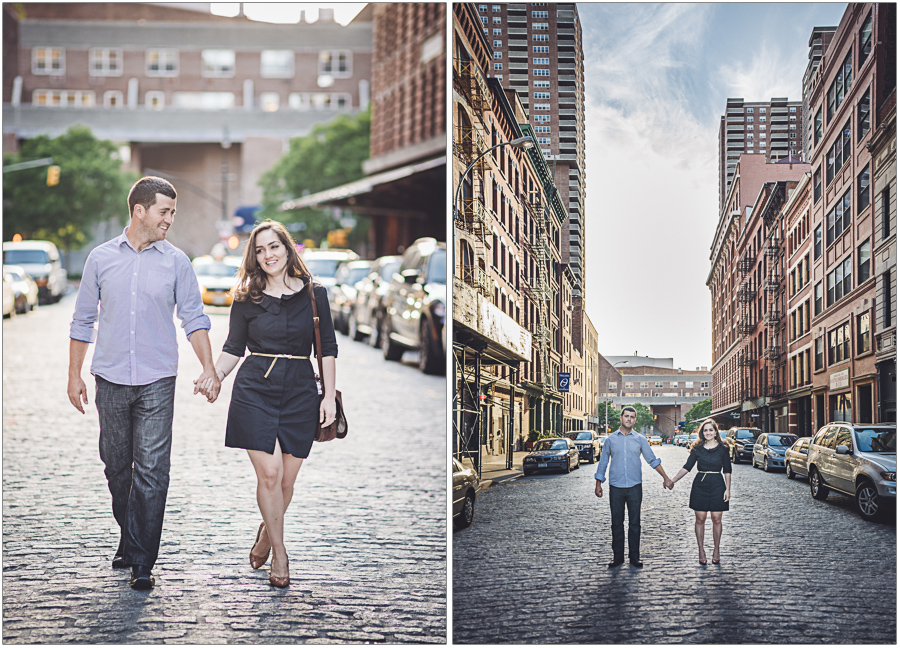 walking the streets of tribeca engagement session