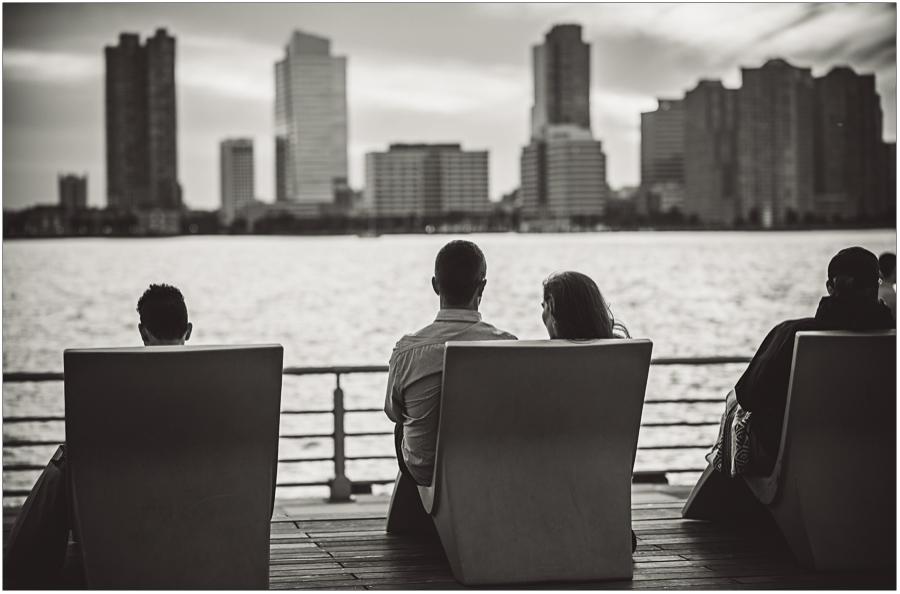 Chelsea Piers view NJ skyline engagement session
