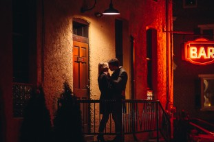cool night portrait of couple