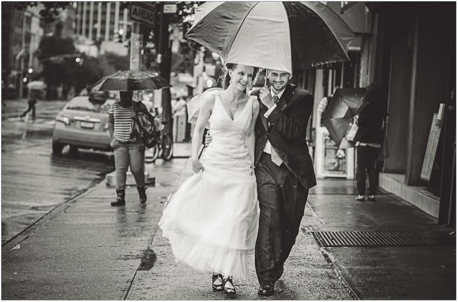 Wedding Rain New York City Portrait