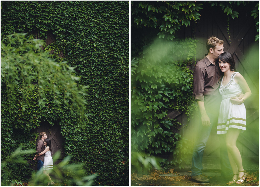 Princeton Engagement Portrait with Ivy Wall