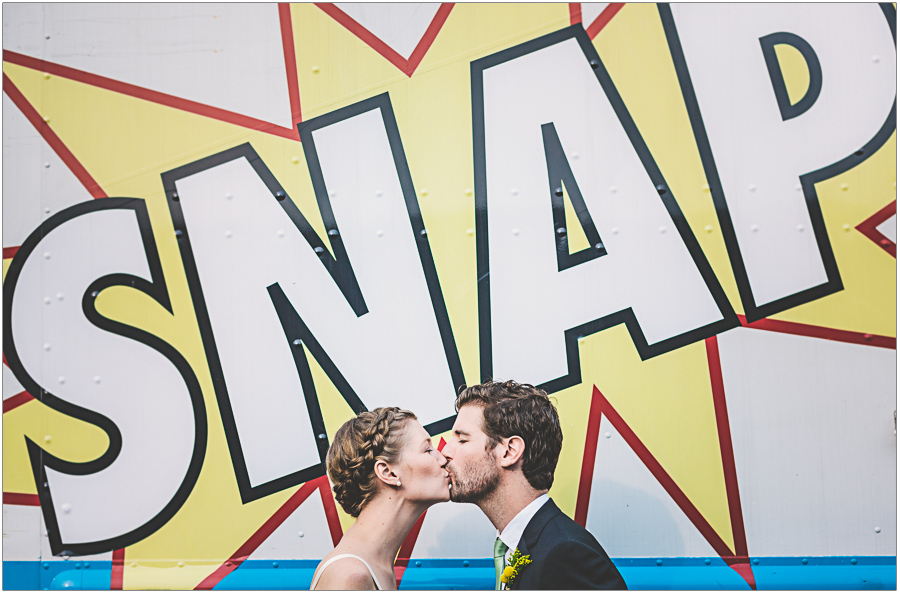 Brooklyn Wedding Portrait in front of a Food Truck